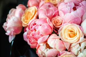 Fresh bunch of pink peonies and rose