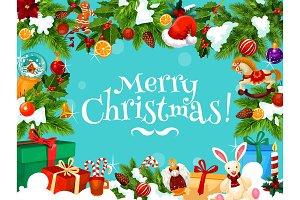 Christmas gift frame holiday design