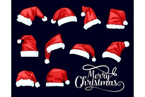 Merry Christmas Santa Claus red hats
