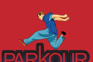 Parkour is a man. Leap forward.
