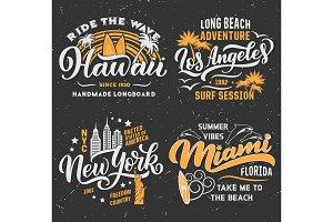 Surfing summer vector t-shirt design