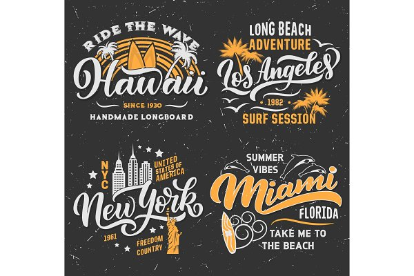Surfing summer vector t-shirt desig…
