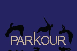 Vector art. Parkour is man and girl