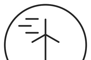 Wind turbine stroke icon, logo