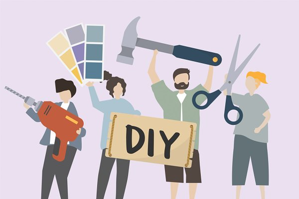 People carry DIY tools illustration