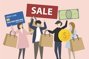 People shopping icons illustration