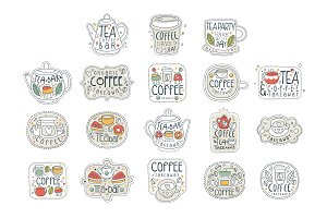Coffee and tea labels for street