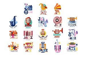 Logos set for jazz festival or live