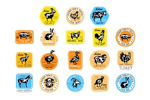 Set of retro labels for dairy and