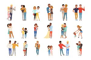Set with hugging people. Friends