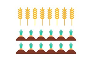 Wheat Field and Carrots Icons Vector