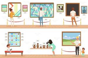 Cartoon characters people visitors