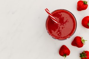 Red smoothie strawberries drink