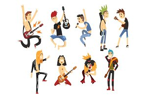 Cartoon rock artists characters