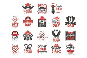 Super Dad logo set, Fathers Day
