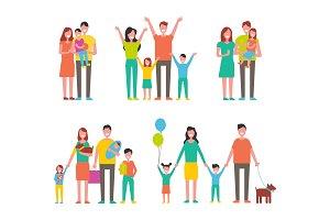 Happy Families Set, Vector Icon in