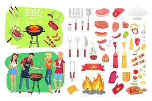 BBQ Party Set People Cooking Vector