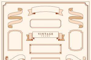 Vintage ornament frames illustration