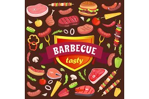 Barbecue Tasty Party Icons Set