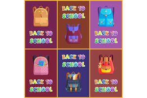 Back to School Backpacks Set Vector