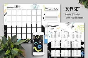 2019 year calendar, weekly planner