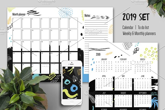 2019 year calendar weekly planner illustrations
