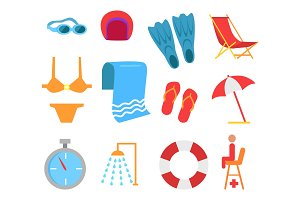Swimming Equipment Vector Icon