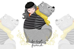Cute Bear and girl. Best friend