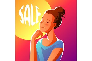 Cute girl dreaming about sales.