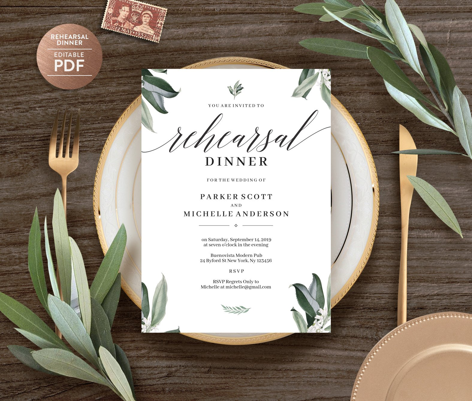 Rehearsal Dinner Invitation Template | Creative Wedding Templates ~  Creative Market