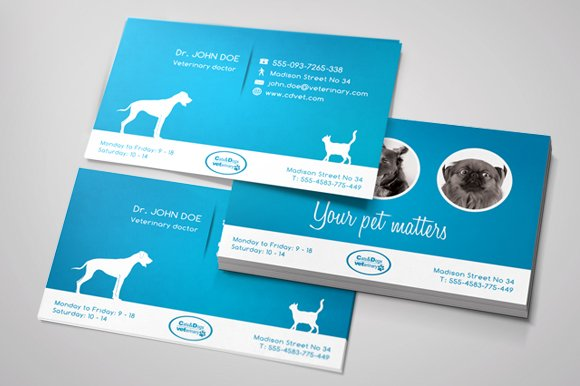 Veterinary business card business card templates creative market reheart Image collections