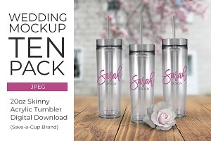 Wedding Skinny Acrylic Tumbler 10 pk