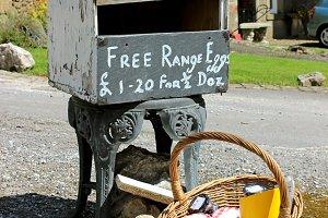Store of free range eggs and jam
