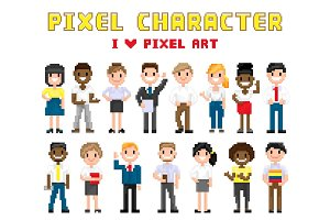 Pixel Characters I Love Art Vector