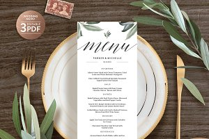 Wedding Menu Printable Template