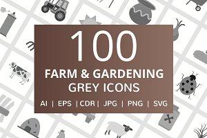 100 Farm & Gardening Greyscale Icons