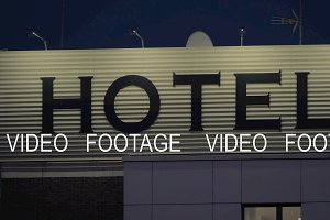 Night view of hotel banner in the