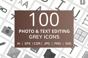 100 Photo & Text Editing Grey Icons