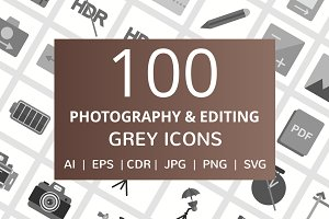 100 Photography & Picture Grey Icons