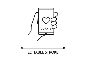 Smartphone donation app linear icon