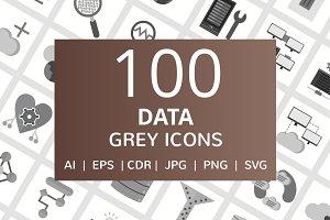 100 Data Greyscale Icons