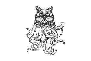 Fantastic owl octopus animal vector