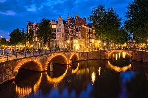 Amterdam canal, bridge and medieval