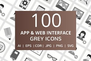 100 App & Web Interface Grey Icons