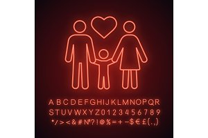 Family neon light icon