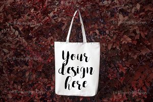 Autumn tote bag mockup stock photo