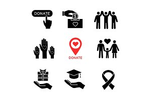 Charity glyph icons set