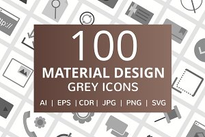 100 Material Design Flat Grey Icons
