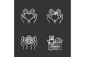 Charity chalk icons set
