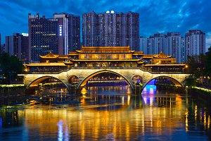 Anshun bridge at night, Chengdu